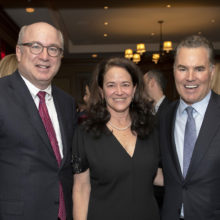 Targeting ALS: Pictured, from left, are Peter L. Slavin, MD, Mass General president; Merit Cudkowicz, MD, chief of Neurology and director of the Sean M. Healey and AMG Center for ALS, and Sean Healey, executive chairman of Affiliated Managers Group, Inc.