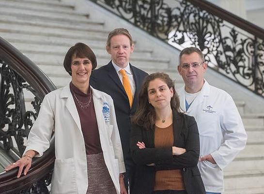 Leaders of the Mass General Gun Violence Prevention Coalition include, from left, Kim Shepherd, RN; Paul Currier, MD; Chana Sacks, MD; and Peter Masiakos, MD.
