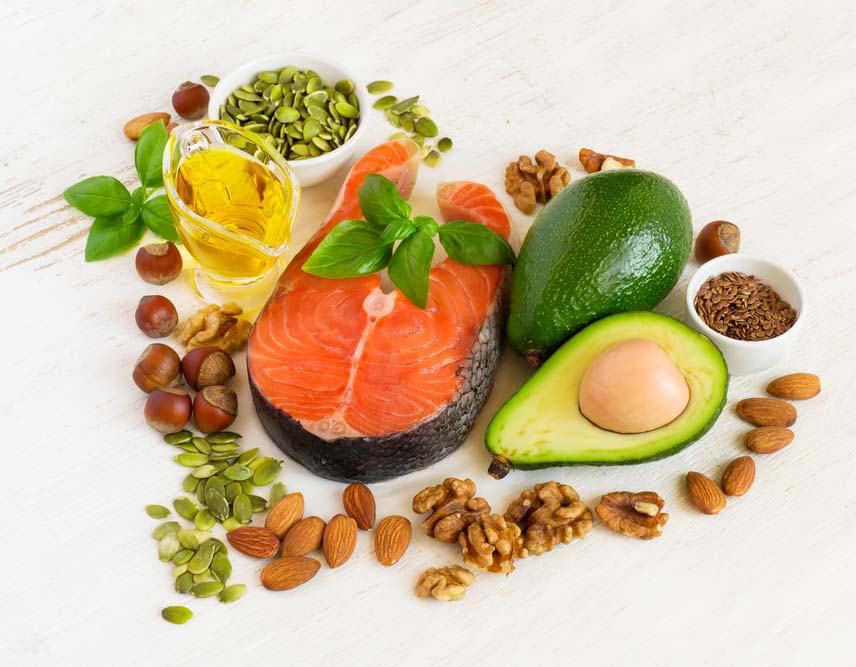 In general, the unsaturated fats found in olive oil, fish, avocado, nuts, and seeds help protect us from heart disease.