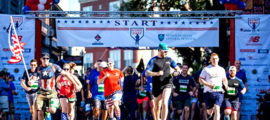 Participants in the 2016 Run to Home Base ran through the streets of Boston before finishing by crossing home plate at Fenway Park.