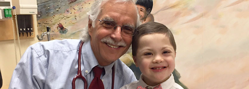 Howard Weinstein, MD, with Harry Burns, 5, his patient-partner.