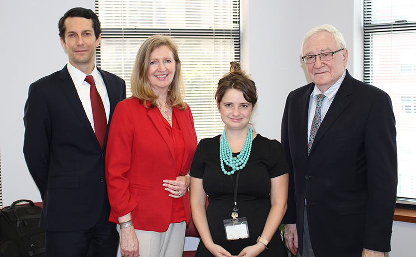 From left: Donor Randy Watts; scholar recipients Mary Susan Convery, MSW, LICSW, a clinical social work specialist at Mass General, and Sarah Wettenstein, LICSW, a behavioral health clinician at the Boston Health Care for the Homeless Program; and Herbert Benson, MD, director emeritus of the BHI.