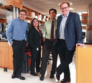 The center's investigators include, from left, Nir Hacohen, PhD; Marcela Maus, MD, PhD; Shawn Demehri, MD, PhD, and Mark Cobbold, MD, PhD.