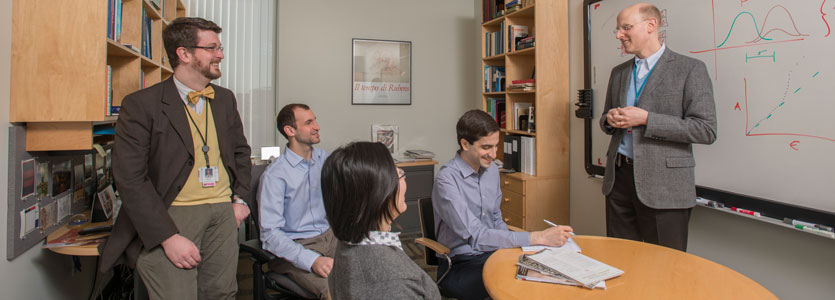 Jonathan Rosand, MD, MSc, (far right), and his laboratory colleagues.