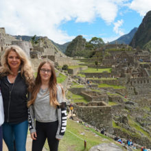 Before being diagnosed with cholangiocarcinoma, Jacqui Lewis (center) traveled often with her son, Evan Lewis, and daughter, Anjelina Lewis, including to Machu Picchu in Peru.