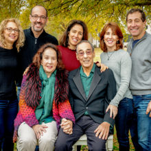 Back row, L-R: Cindy and AJ Janower, Julie Klein, Amy and Sam Weinstein; Seated: Linda and Murray L. Janower, MD