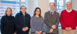 Members of the Jaudy family are making a gift to establish the Robert L. Martuza, MD, Endowed Scholar in Neurosurgery. Pictured, from left, are Helena L. de C. Jaudy, Rachid Jose Jaudy, Helena Jaudy, Bob S. Carter, MD, PhD, and Robert L. Martuza, MD.