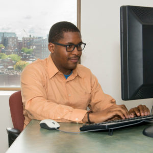 College student Jeanmarie Matelus Jr., gains computer science experience through the MGH Youth Scholars program.