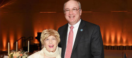 Composer and lyricist Mildred Kayden joins MGH president Peter l. Slavin, MD, to celebrate the first endowed chair for the MGH Research Institute.