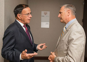 Mr. Kirk (left) with Gen. Jack Hammond, Home Base's executive director.