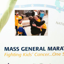 Those featured on the mural include Lindsey Beggan (left), a former Mass General pediatric cancer patient who ran in the 2013 marathon. Because of the bombing, she had to stop a mile from the finish line. Lindsey is back – running and raising money for the 2014 team.