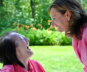 Louise Finocchio, who has advanced Alzheimer's Disease, spends time with her daughter Karen Lubeck.