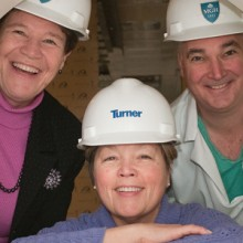 Even after construction of the Lunder Building began, new technology continued to be investigated by a Mass General team that included (from left) Dawn Tenney, RN, MSN, Joanne Ferguson, RN, and Peter Dunn, MD.