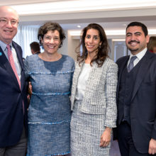 Visiting in London are, from left, Mass General President Peter L. Slavin, MD; his wife, Lori; Sarah Yamani and her husband Malik Dahlan.