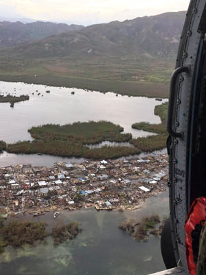 An aerial assessment by USAID soon after Hurricane Mathew struck Haiti's southwest peninsula showed extensive devastation. (Photo by USAID)