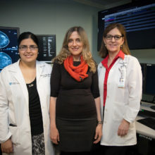 Collaborators on research into using machine learning to enhance breast cancer screening included, from left, Manisha Bahl, MD, of Mass General; MIT professor Regina Barzilay, PhD; and Constance Lehman, MD, of Mass General. (Image: Jason Dorfman/CSAIL)