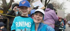 Patient partner Douglas Davis and Casey Evans at the 2015 Boston Marathon.