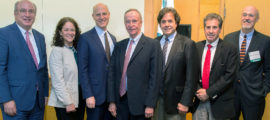 Henry McCance (center) with (from left) Peter L. Slavin, MD, president, Mass General; Merit Cudkowicz, MD, chief of Neurology; Jonathan Rosand, MD, chief of the Division of Neurocritical Care and Emergency Neurology; Rudolph Tanzi, PhD, director of the Genetics and Aging Research Unit in Mass General Institute for Neurodegenerative Disease; Jerrold Rosenbaum, MD, chief of Psychiatry, and Gregory Fricchione, MD, director of the Benson-Henry Institute for Mind Body Medicine.