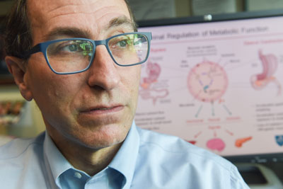 Lee Kaplan, MD, PhD, is studying the influence of the human microbiome on energy metabolism.