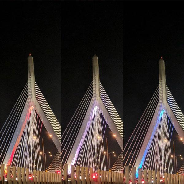 Boston's Zakim Bridge was illuminated in red, white and blue to commemorate the 2017 Mission: Gratitude gala.