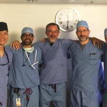 The Mass General team involved in the recent mitral valve replacement procedure included, from left, Michael Young, MD; Gaston Cudemus, MD; Ignacio Inglessis-Azuaje, MD; Jonathan Passeri, MD; and Serguei Melnitchouk, MD.