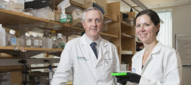 Surgical oncologist John Mullen, MD, and Sarah Johnstone, MD, PhD, of the Liposarcoma Genome Project