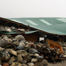 A lodge damaged by the Nepal earthquake in Pheriche, Nepal.