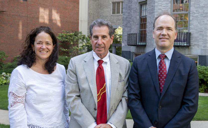 The co-chairs of Mass General Neuroscience are, from left, Merit Cudkowicz, MD, MsC, chief of Neurology; Jerrold Rosenbaum, MD, chief of Psychiatry; Bob Carter, MD, PhD, chief of Neurosurgery.