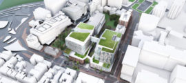 An aerial rendering of Mass General's proposed new building. (Rendering courtesy of NBBJ)