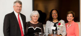 Celebrating Dr. Gaurdia Banister as inaugural incumbent of the Connell-Jones Endowed Chair in Nursing and Patient Care Research are, from the left, Dr. Britain Nicholson, Mrs. Margot Connell, Dr. Banister and Dr. Jeanette Ives Erickson