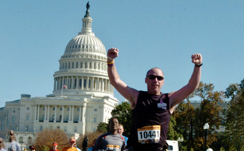 Dan O'Connell, who will run the 2018 Boston Marathon for Mass General, previously ran the 2011 Marine Corps Marathon in Virginia.