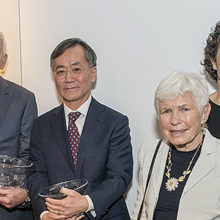 Celebrating the Michael and Kathryn Park Endowed Chair in Cardiology are, from left: Dr. Brit Nicholson, Michael Park, Dr. Ik-Kyung Jang, Kathryn Park, Dr. Katrina Armstrong and Dr. Anthony Rosenzweig.