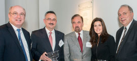 Celebrating the Pérez Endowed Chair in Surgery are, from left, Dr. Slavin, Dr. Fernández-del Castillo, Jorge and Darlene Pérez, and Keith Lillemoe, MD, MGH surgeon-in-chief.