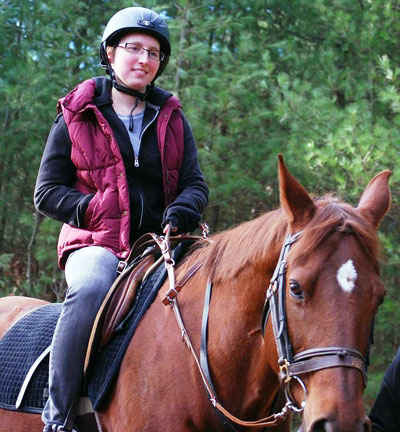 Horseback riding is one of Jessica's many athletic pursuits.