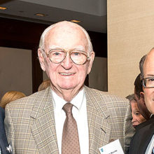 Celebrants at the recent Phillips Society luncheon included, from left, Thomas J. Lynch Jr., chairman and chief executive officer of the Mass General Physicians Organization, Phillips Society member Jim Mooney and Anthony Rosenzweig, MD, chief of Cardiology
