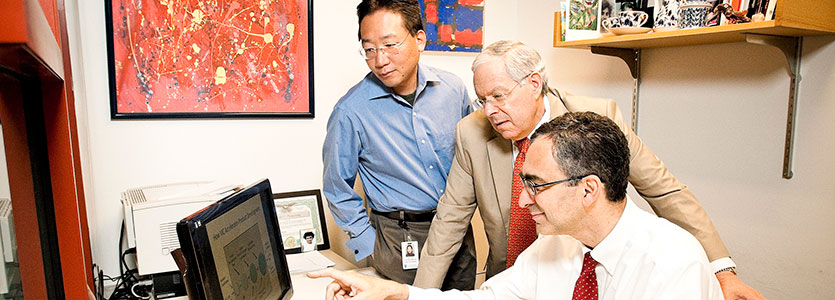 Researchers at Mass General's Vaccine and Immunotherapy Center include, from left, Satoshi Kashiwagi, MD, PhD; Jeffrey Gelfand, MD; and director Mark Poznansky, MD, PhD.