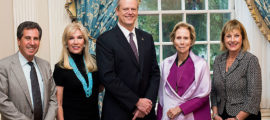 Participants in Psychiatry Visiting Day included, from left, Jerrold F. Rosenbaum, MD, psychiatrist-in-chief; Michele Kessler; Gov. Charlie Baker; Carroll M. Carpenter; and Cathy Minehan, chair of Mass General's Board of Trustees. Mrs. Kessler and Mrs. Carpenter are co-chairs of the MGH Leadership Council for Psychiatry.