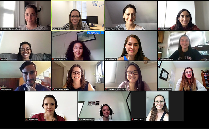 Yakeel Quiroz-Gaviria, PhD, (second from left) and colleagues in her lab, welcomed neurology summer interns to their online lab meetings during COVID-19.