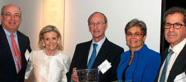 From left, Peter L. Slavin, MD, MGH president; donors Mary and Marvin Davidson; Paula K. Rauch, MD, and Jerrold Rosenbaum, MD, psychiatrist-in-chief