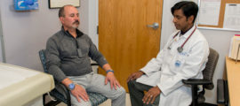 Roberto Cabral (left) reviews stress-reduction techniques with Darshan Mehta, MD, MPH, medical director of Mass General's Benson-Henry Institute for Mind Body Medicine.