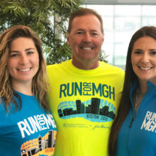 From left, Kaitlin, Mark and Jordan Sampson are running the 2018 Boston Marathon in gratitude for the cancer care received at Mass General by two family members.