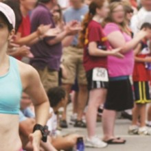 Jennifer Searl running the High Street Mile in Newburyport, Mass., in 2009 in preparation for the World Transplant Games in Australia where she competed in four races.