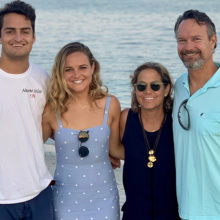 Shannon and Drew Hayden have made a donation to help triple negative breast cancer patients. On a trip to Cape Cod with their children, from left: Andrew Hayden, Jr., Carly Hayden, Shannon Hayden and Drew Hayden.