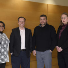 Recent breakthrough research into the cause of a rare movement disorder involved, from left, Nutan Sharma, MD, PhD; Cristopher Bragg, PhD; Michael Talkowski, PhD and Laurie Ozelius, PhD.