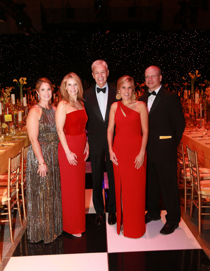 From left: Storybook Ball Co-Chairs Demi Isenstadt and Sonja Kelly; MGHfC Physician-in-Chief Ron Kleinman, MD; Co-Chair Paige Sutphin; and MGHfC Surgeon-in-Chief Allan Goldstein, MD.