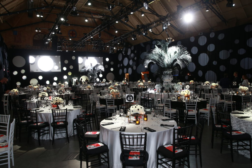 "The 2018 Storybook Ball décor transported guests to London, the setting of this year's featured tale, ""101 Dalmatians."""