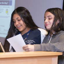 Marta Gomez Martinez and Myria Saunder - MGH Timlity Middle School participants - at the celebration of the 2018 Mass General Summer Jobs Program.