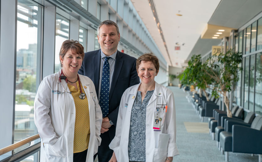 The team at the Henri and Belinda Termeer Center for Targeted Therapies includes, from left: Donna Fitzgerald, PA-C; Dejan Juric, MD, director; and Casandra McIntyre, RN, MTS, nurse director.