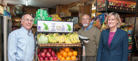From left, Ron Fishman, store owner Egidio Barrios and Anne Thorndike, MD, MPH, all worked on a project to increase sales of fresh produce in neighborhood markets.