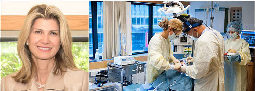 Maria Troulis, DDS, MSc, (at left in operating room photo), chief of Oral and Maxillofacial Surgery, operates on a patient alongside a resident in training.